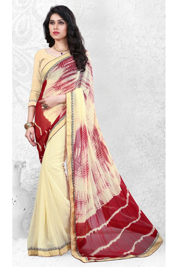 Ethnic Wear Cream & Beige Georgette Saree  - 72523