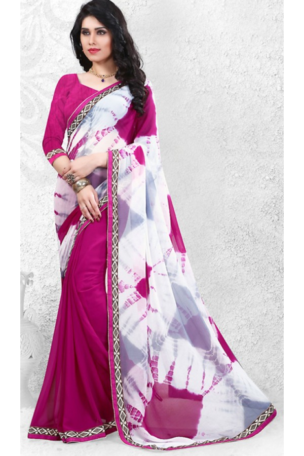 Ethnic Wear White & Fuchsia Georgette Saree  - 72524
