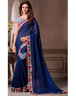 Party Wear Blue Georgette Saree - 72526