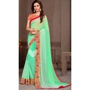 Party Wear Green Georgette Saree - 72533
