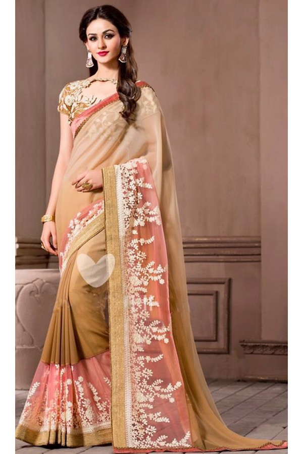 Casual Wear Tan Brown Georgette Saree - 72534
