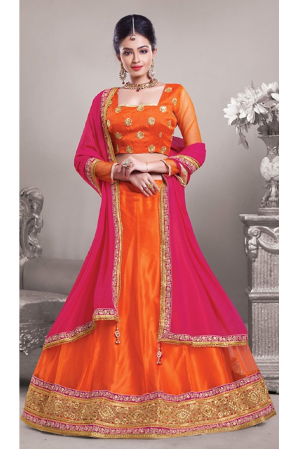 Party Wear Orange & Pink Net Lehenga Choli - 72543