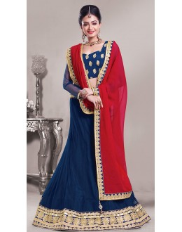 Traditional Blue & Pink Net Lehenga Choli - 72544