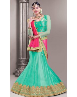Wedding Wear Turquoise & Pink Lehenga Choli - 72548