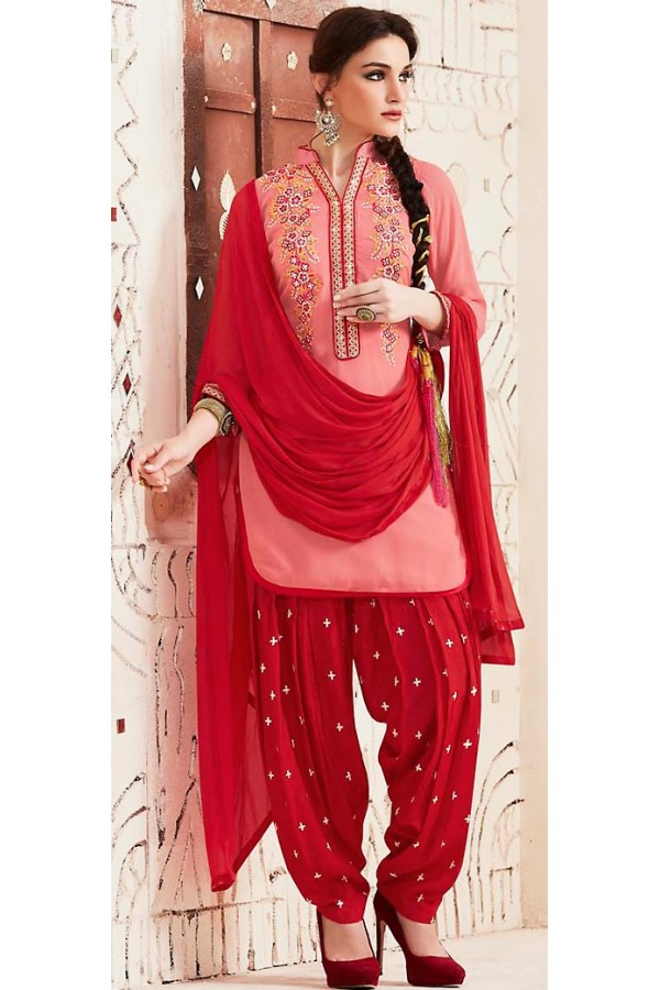 Designer Style Pink & Red Georgette Patiala Suit - 72553