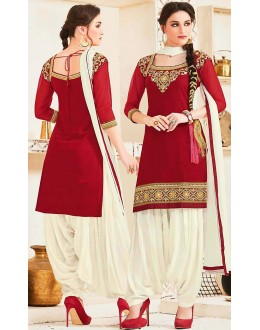 Party Wear Red & Off White Georgette Patiala Suit - 72559