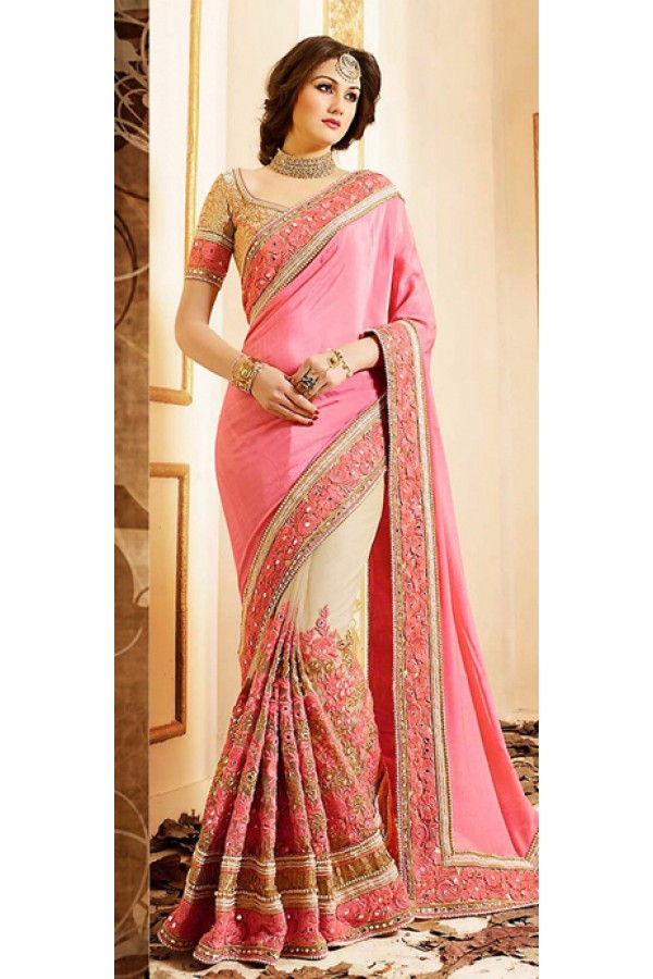 Ethnic Wear Pink & Brown Chiffon Saree - 72594