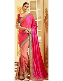 Ethnic Wear Pink Net Embroidered Saree - 72603