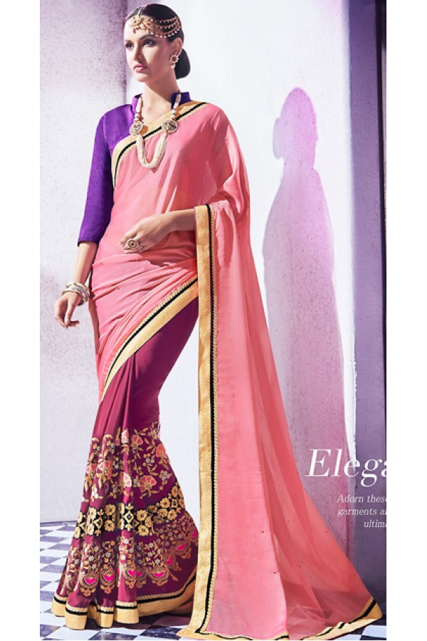 Party Wear Pink Georgette Embroidered Saree - 72677