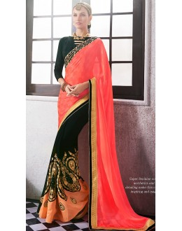 Designer Peach & Black Georgette Saree - 72679