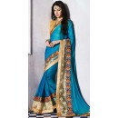 Traditional Sky Blue Georgette Embroidered Saree - 72680