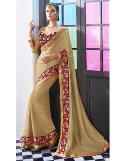 Designer Beige Georgette Embroidered Saree - 72683