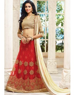 Traditional Red & Off White Lehenga Choli - 72784