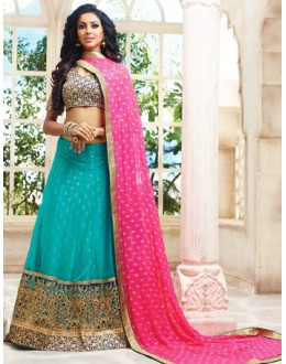 Traditional Turquoise & Pink Lehenga Choli - 72786