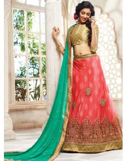 Wedding Wear Pink & Green Lehenga Choli - 72789