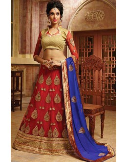 Designer Red & Blue Net Lehnega Choli - 72793