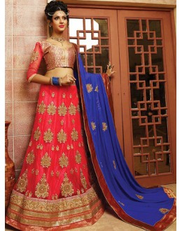 Designer Red & Blue Net Lehnega Choli - 72798