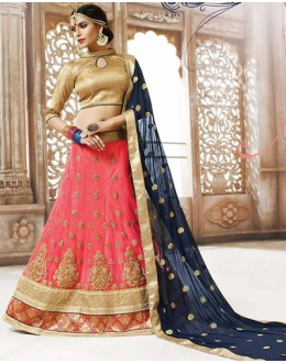 Traditional Pink & Navy Blue Net Lehnega Choli - 72817
