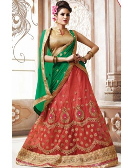 Wedding Wear Red & Green Net Lehnega Choli - 72819