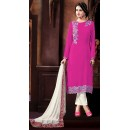 Office Wear Pink & White Georgette Salwar Suit - 72854