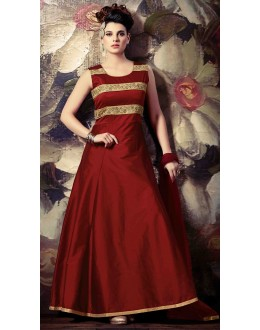 Party Wear Maroon Silk Anarkali Suit - 72863