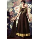 Traditional Brown Silk Embroidered Anarkali Suit - 72867
