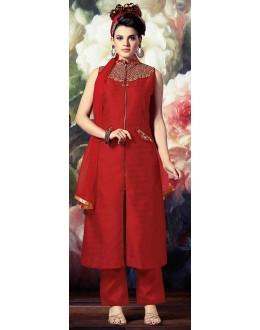 Fancy Red Banarasi Silk Salwar Kameez - 72868