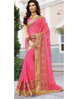 Party Wear Pink Georgette Embroidered Saree - 72944