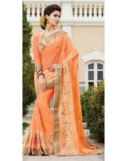 Traditional Orange Georgette Embroidered Saree - 72948