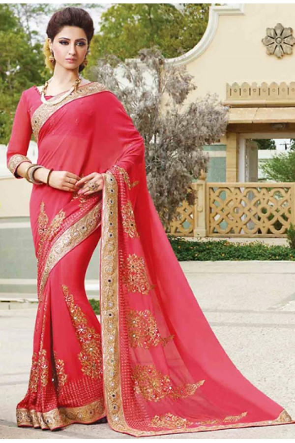 Party Wear Pink Georgette Embroidered Saree - 72952