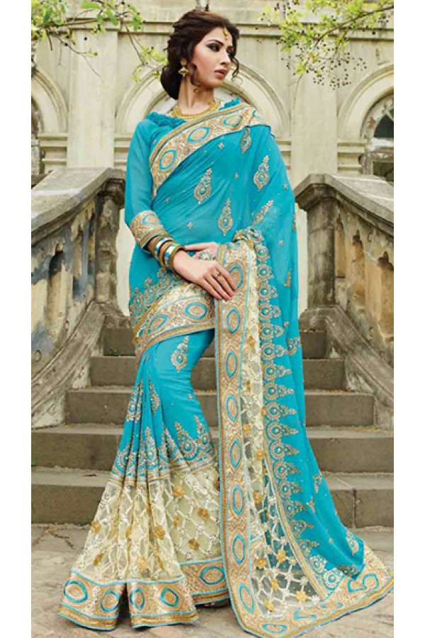 Designer Sky Blue Georgette Embroidered Saree - 72954