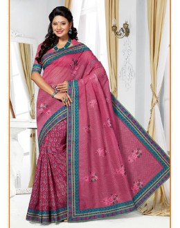 Party Wear Pink Cotton Embroidered Saree  - 73386