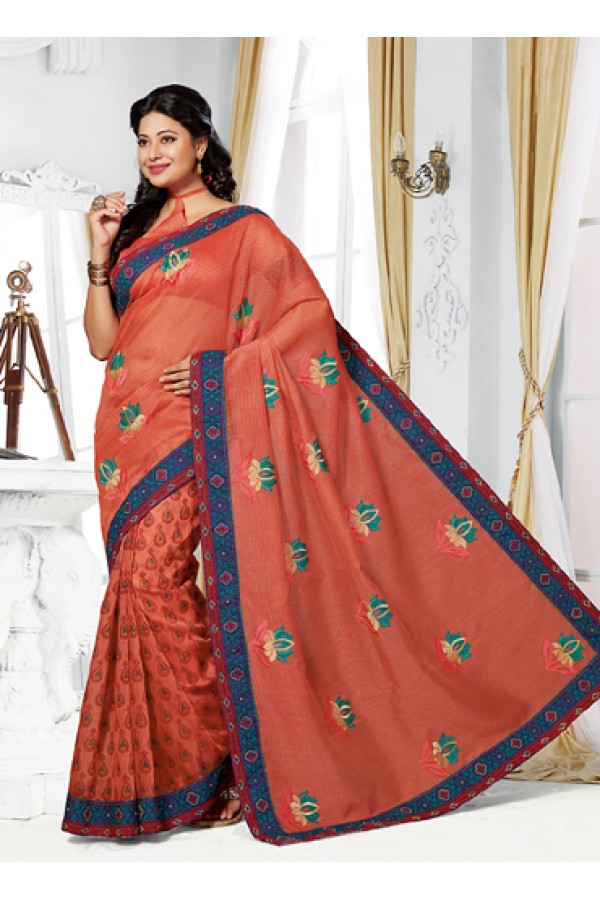 Ethnic Wear Orange Cotton Embroidered Saree  - 73387