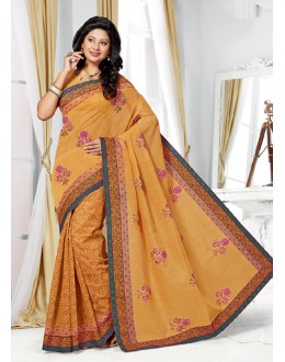 Party Wear Yellow Cotton Saree  - 73390