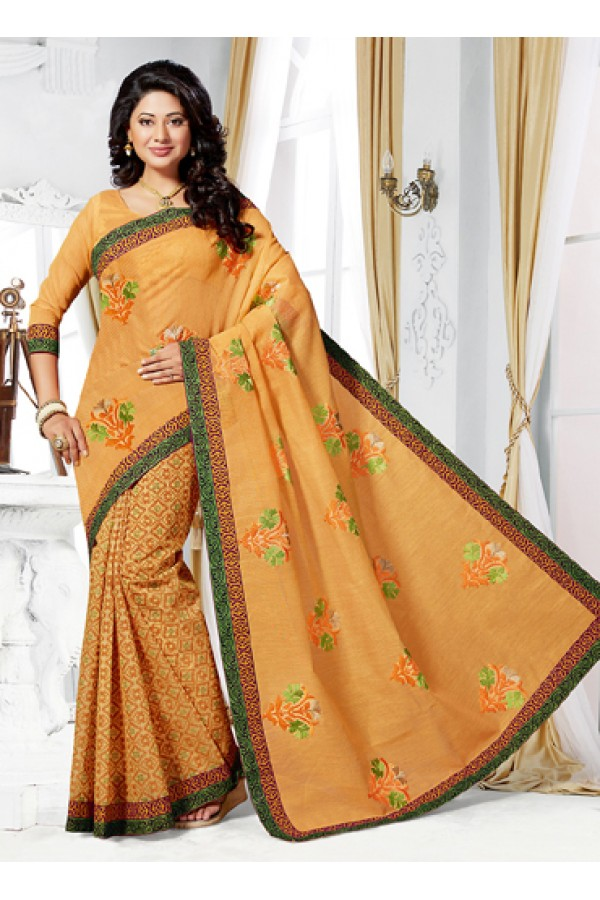 Ethnic Wear Yellow Cotton Saree  - 73391