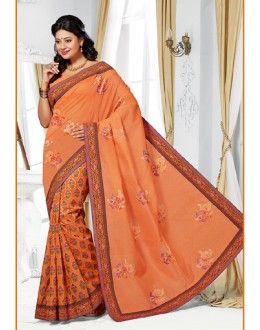 Casual Wear Orange Cotton Saree  - 73392