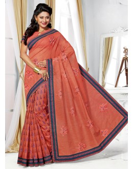 Casual Wear Red Cotton Saree  - 73394
