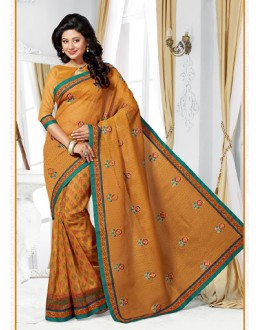 Ethnic Wear Brown Cotton Saree  - 73397