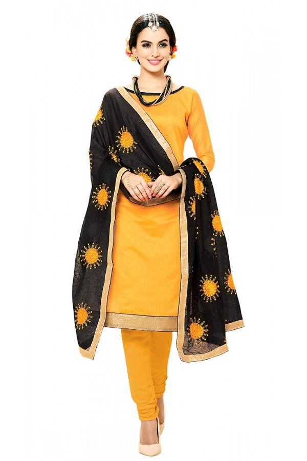 Office Wear Yellow & Black Cotton Salwar Suit - 72981