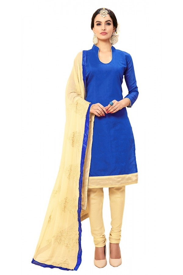 Ethnic Wear Blue & Beige Cotton Salwar Suit - 72988