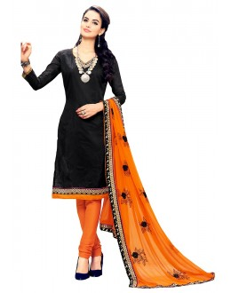 Office Wear Black & Orange Cotton Churidar Suit - 72991
