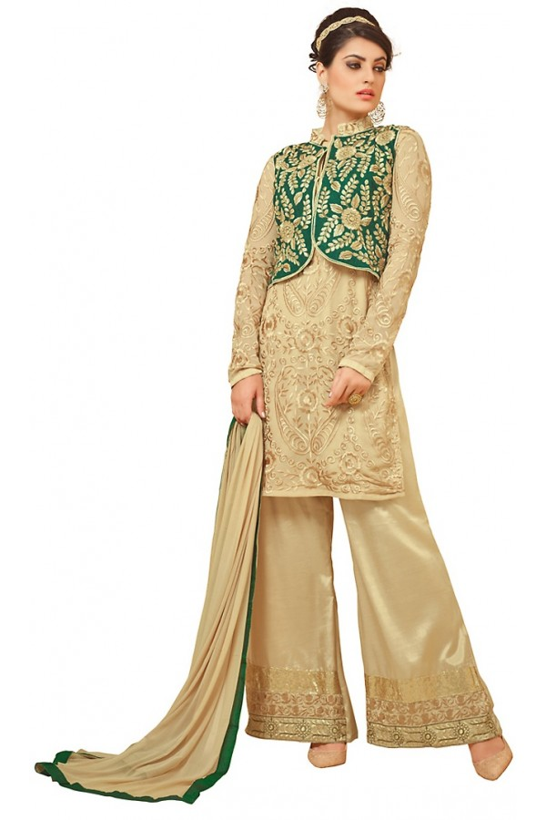Party Wear Brown Georgette Palazzo Suit - 72995