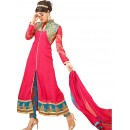 Fancy Pink & Sky Blue Georgette Silt Anarkali Suit - 72996