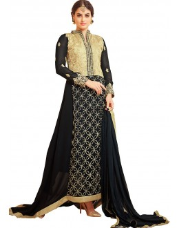 Party Wear Beige & Black Georgette Anarkali Suit - 72998