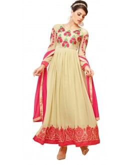 Party Wear Beige & Pink Georgette Anarkali Suit - 72999