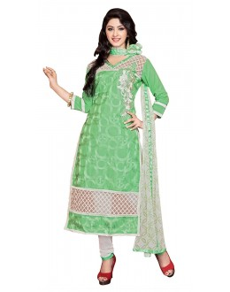 Office Wear Green & Off White Cotton Churidar Suit - 73010