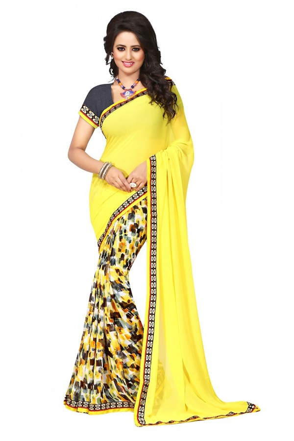 Ethnic Wear Yellow & Grey Georgette Saree  - 73023