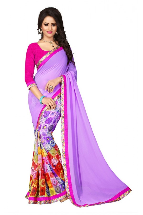 Ethnic Wear Lavendar & Pink Georgette Saree  - 73027