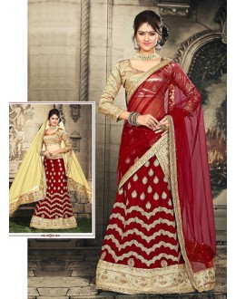 Traditional Red & Beige Velvet Lehnega Choli -73064