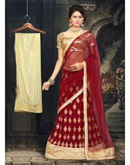 Wedding Wear Red & Beige Velvet Lehnega Choli -73069